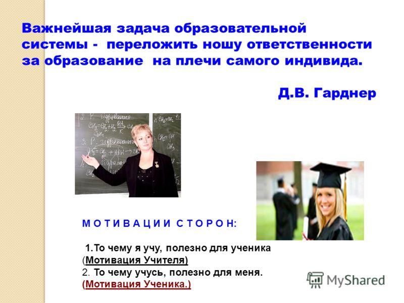 Важнейшая задача образовательной системы - переложить ношу ответственности за образование на плечи самого индивида. Д.В. Гарднер М О Т И В А Ц И И С Т О Р О Н: 1.То чему я учу, полезно для ученика (Мотивация Учителя) 2. То чему учусь, полезно для мен