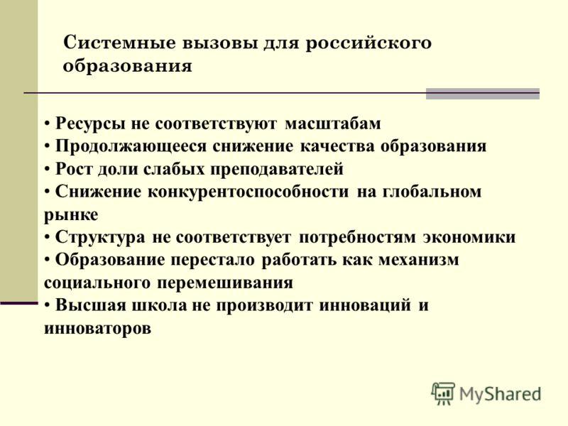 Системные вызовы для российского образования Ресурсы не соответствуют масштабам Продолжающееся снижение качества образования Рост доли слабых преподавателей Снижение конкурентоспособности на глобальном рынке Структура не соответствует потребностям эк