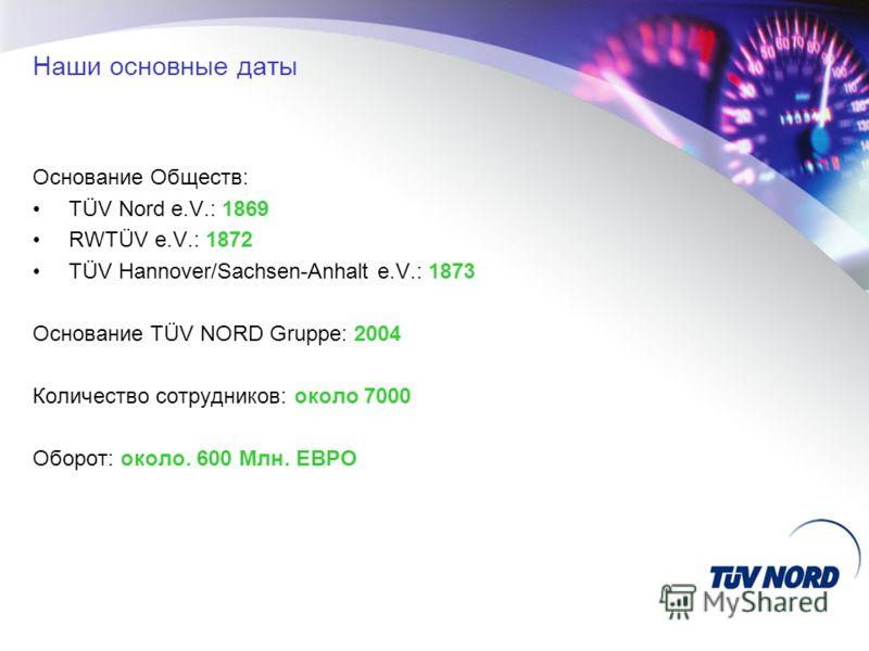 Наши основные даты Основание Обществ: TÜV Nord e.V.: 1869 RWTÜV e.V.: 1872 TÜV Hannover/Sachsen-Anhalt e.V.: 1873 Основание TÜV NORD Gruppe: 2004 Количество сотрудников: около 7000 Оборот: около. 600 Mлн. ЕВРО