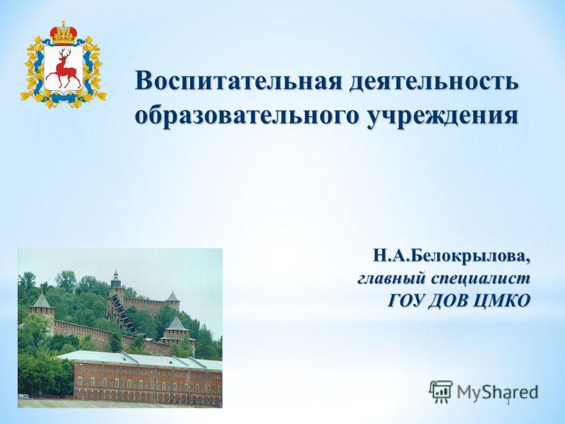 1 Воспитательная деятельность образовательного учреждения Н.А.Белокрылова, главный специалист ГОУ ДОВ ЦМКО