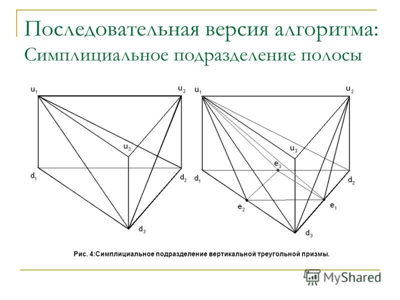 Последовательная версия алгоритма: Симплициальное подразделение полосы Рис. 4:Симплициальное подразделение вертикальной треугольной призмы.