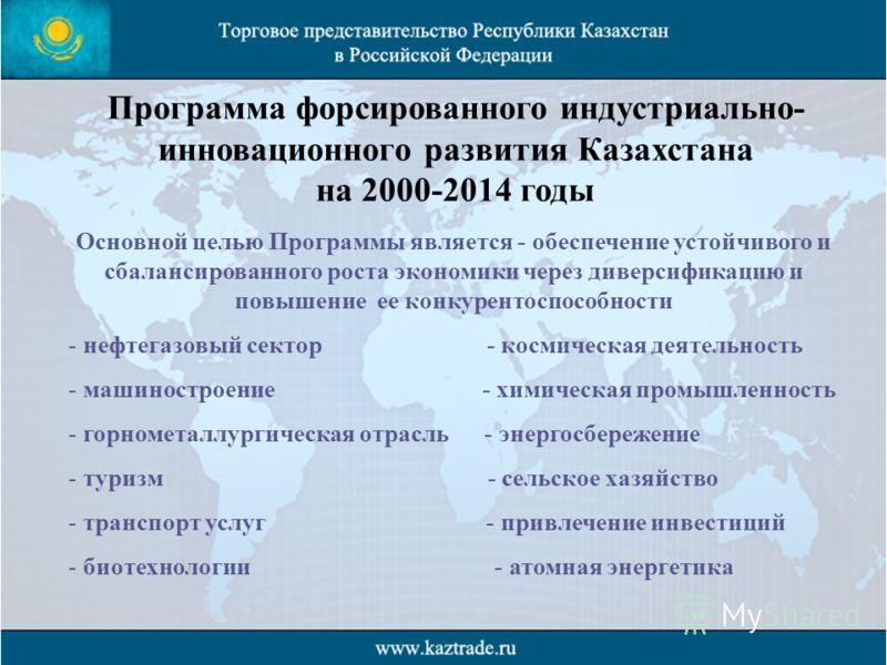 Программа форсированного индустриально- инновационного развития Казахстана на 2000-2014 годы Основной целью Программы является - обеспечение устойчивого и сбалансированного роста экономики через диверсификацию и повышение ее конкурентоспособности - н