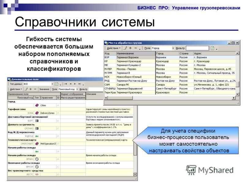 Справочники системы Гибкость системы обеспечивается большим набором пополняемых справочников и классификаторов Для учета специфики бизнес-процессов пользователь может самостоятельно настраивать свойства объектов