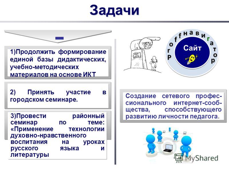 - 1)Продолжить формирование единой базы дидактических, учебно-методических материалов на основе ИКТ 2) Принять участие в городском семинаре. 3)Провести районный семинар по теме: «Применение технологии духовно-нравственного воспитания на уроках русско