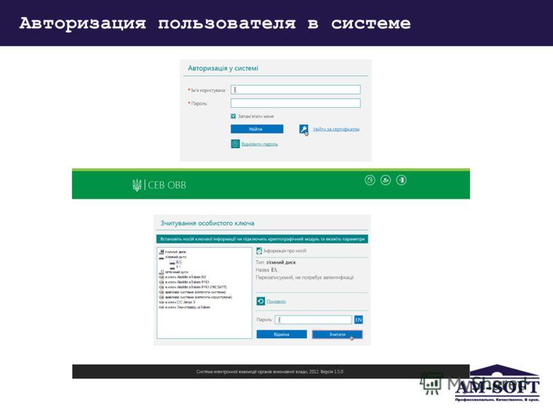 Авторизация пользователя в системе