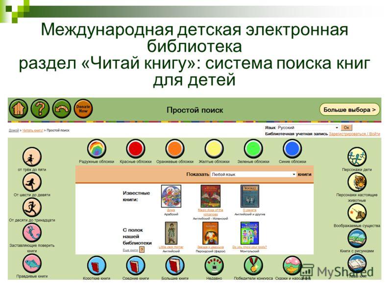 Международная детская электронная библиотека раздел «Читай книгу»: система поиска книг для детей