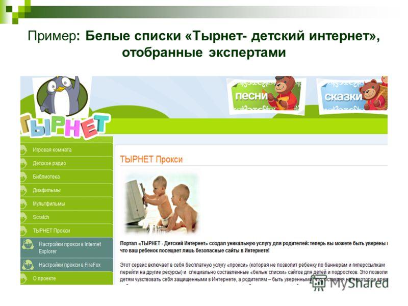 Пример: Белые списки «Тырнет- детский интернет», отобранные экспертами
