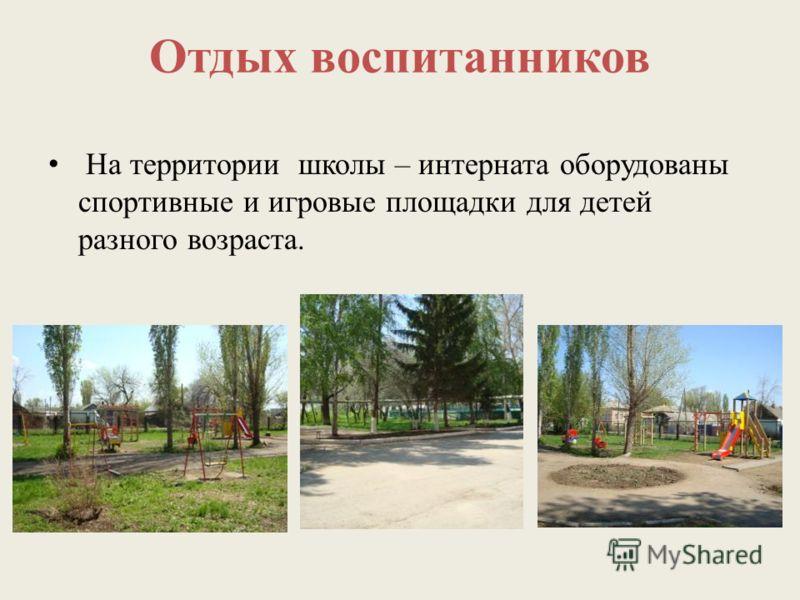 Отдых воспитанников На территории школы – интерната оборудованы спортивные и игровые площадки для детей разного возраста.