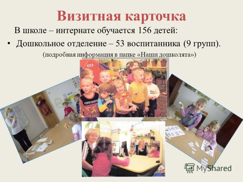 Визитная карточка В школе – интернате обучается 156 детей: Дошкольное отделение – 53 воспитанника (9 групп). (подробная информация в папке «Наши дошколята»)