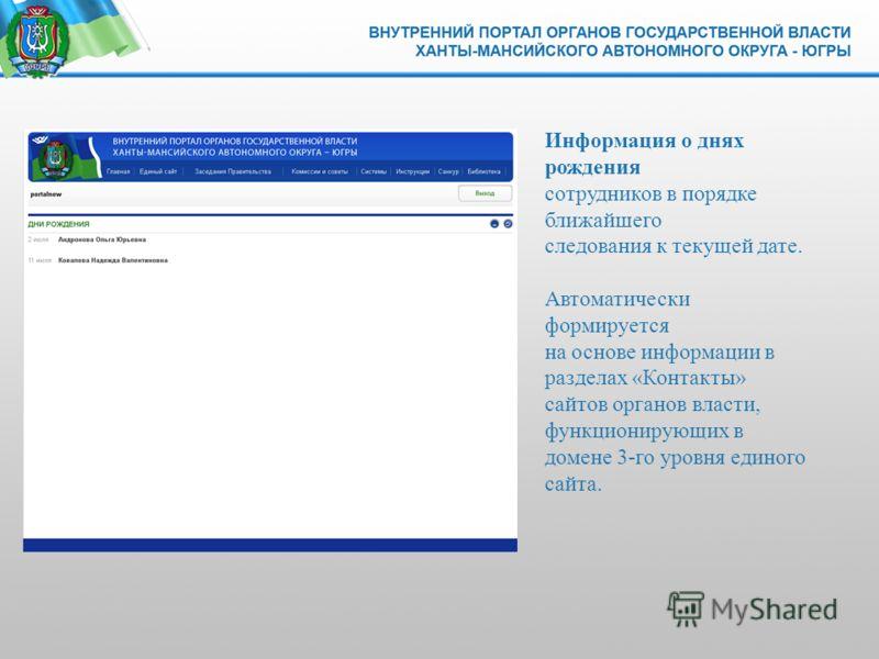 Информация о днях рождения сотрудников в порядке ближайшего следования к текущей дате. Автоматически формируется на основе информации в разделах «Контакты» сайтов органов власти, функционирующих в домене 3-го уровня единого сайта.
