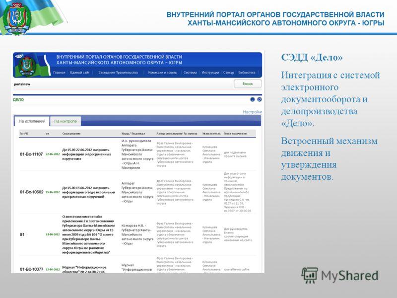 СЭДД «Дело» Интеграция с системой электронного документооборота и делопроизводства «Дело». Встроенный механизм движения и утверждения документов.