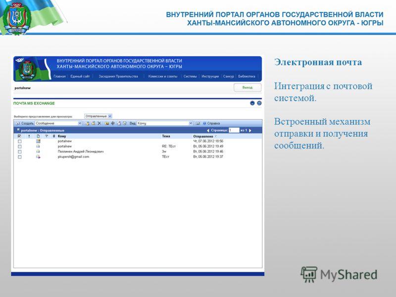 Электронная почта Интеграция с почтовой системой. Встроенный механизм отправки и получения сообщений.