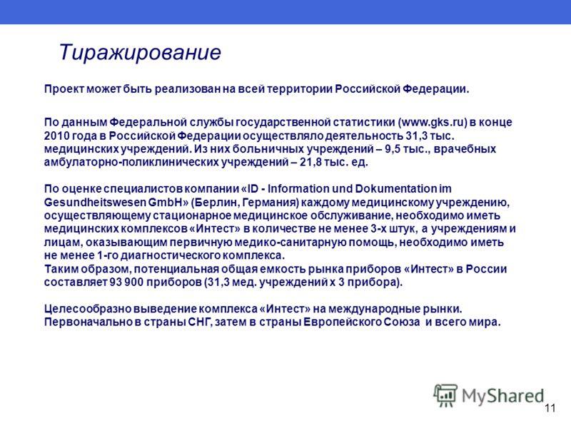 Тиражирование Проект может быть реализован на всей территории Российской Федерации. По данным Федеральной службы государственной статистики (www.gks.ru) в конце 2010 года в Российской Федерации осуществляло деятельность 31,3 тыс. медицинских учрежден