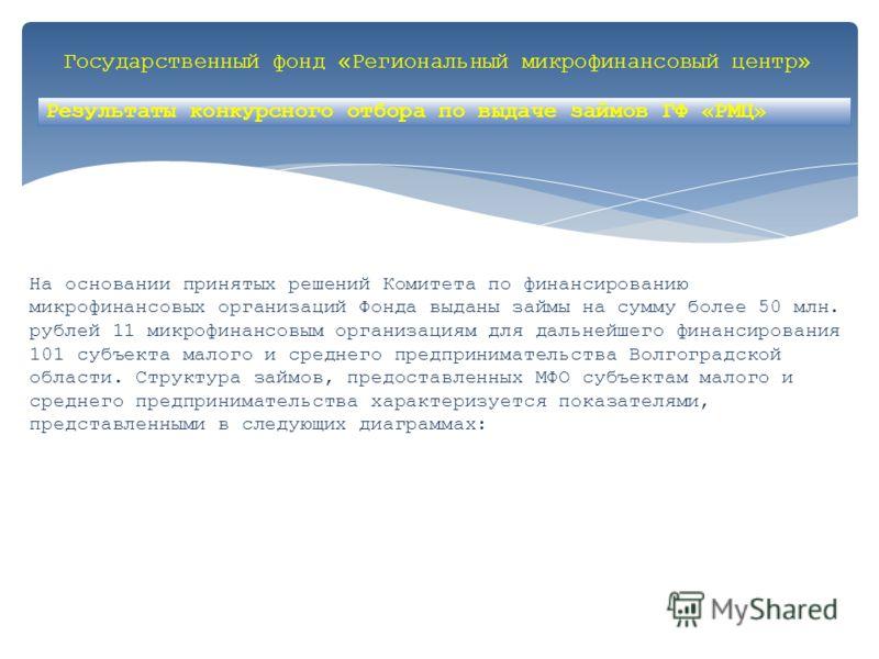 Государственный фонд «Региональный микрофинансовый центр» На основании принятых решений Комитета по финансированию микрофинансовых организаций Фонда выданы займы на сумму более 50 млн. рублей 11 микрофинансовым организациям для дальнейшего финансиров
