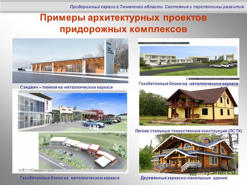 Примеры архитектурных проектов придорожных комплексов Придорожный сервис в Тюменской области. Состояние и перспективы развития. Газобетонные блоки на металлическом каркасе Сэндвич – панели на металлическом каркасе Легкие стальные тонкостенные констру