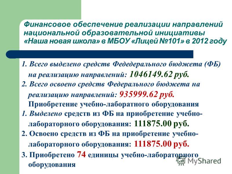 Финансовое обеспечение реализации направлений национальной образовательной инициативы «Наша новая школа» в МБОУ «Лицей 101» в 2012 году 1. Всего выделено средств Федедерального бюджета (ФБ) на реализацию направлений: 1046149.62 руб. 2. Всего освоено