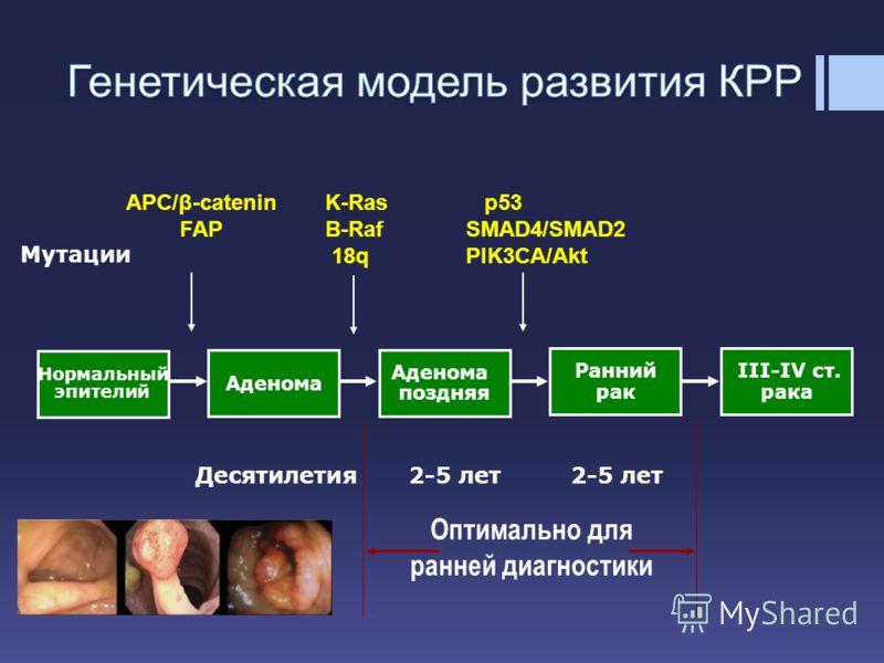 Оптимально для ранней диагностики Десятилетия 2-5 лет 2-5 лет Мутации Нормальный эпителий Аденома поздняя Ранний рак III-IV ст. рака APC/β-catenin FAP K-Ras B-Raf 18q p53 SMAD4/SMAD2 PIK3CA/Akt
