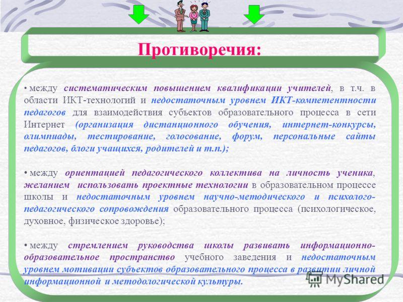 Противоречия: между систематическим повышением квалификации учителей, в т.ч. в области ИКТ-технологий и недостаточным уровнем ИКТ-компетентности педагогов для взаимодействия субъектов образовательного процесса в сети Интернет (организация дистанционн