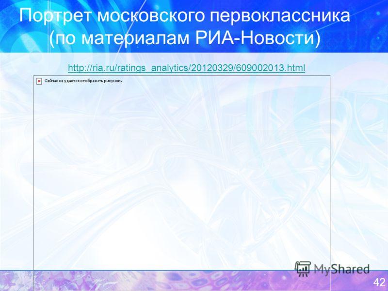 Портрет московского первоклассника (по материалам РИА-Новости) 42 http://ria.ru/ratings_analytics/20120329/609002013.html