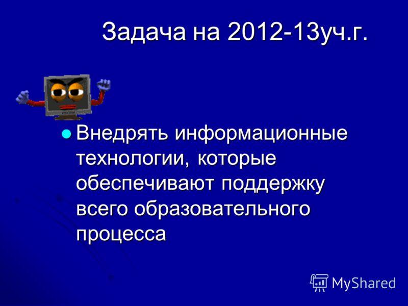 Задача на 2012-13уч.г. Внедрять информационные технологии, которые обеспечивают поддержку всего образовательного процесса Внедрять информационные технологии, которые обеспечивают поддержку всего образовательного процесса