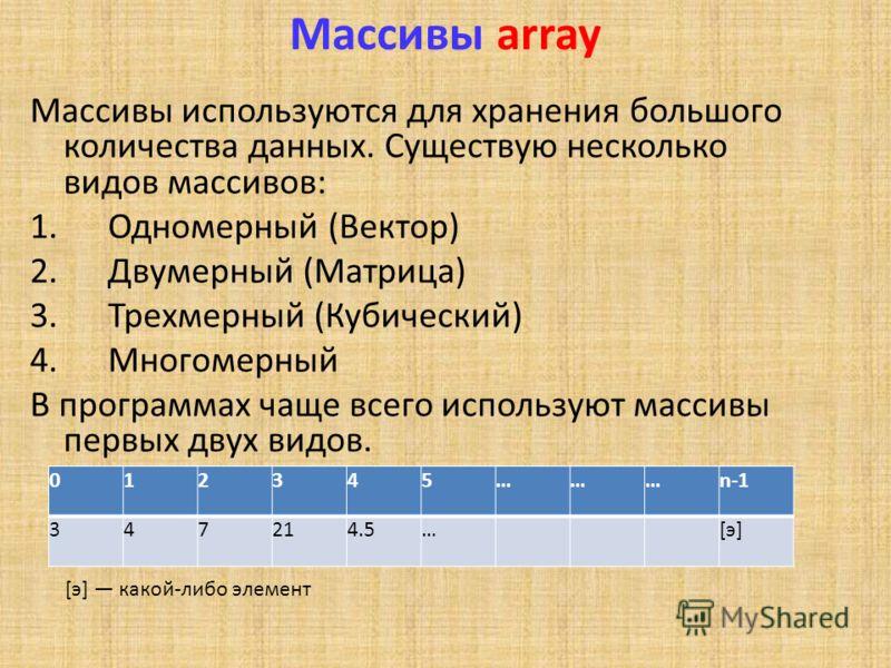 Массивы array Массивы используются для хранения большого количества данных. Существую несколько видов массивов: 1. Одномерный (Вектор) 2. Двумерный (Матрица) 3. Трехмерный (Кубический) 4. Многомерный В программах чаще всего используют массивы первых