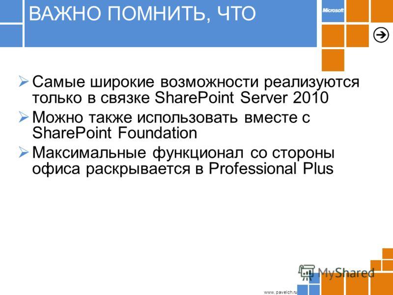 www. pavelch.ru Самые широкие возможности реализуются только в связке SharePoint Server 2010 Можно также использовать вместе с SharePoint Foundation Максимальные функционал со стороны офиса раскрывается в Professional Plus ВАЖНО ПОМНИТЬ, ЧТО
