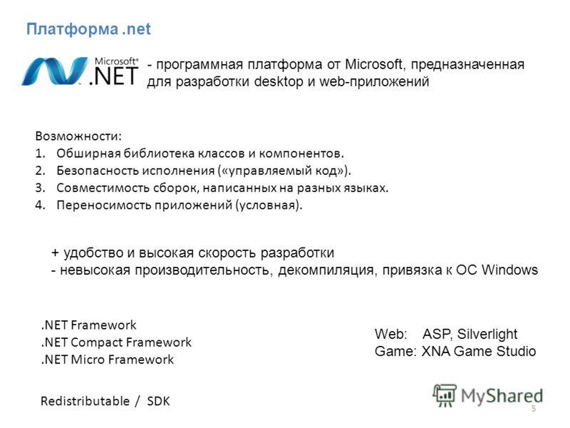 Платформа.net 5 Возможности: 1.Обширная библиотека классов и компонентов. 2.Безопасность исполнения («управляемый код»). 3.Совместимость сборок, написанных на разных языках. 4.Переносимость приложений (условная). - программная платформа от Microsoft,