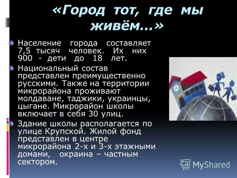 «Город тот, где мы живём…» Население города составляет 7,5 тысяч человек. Их них 900 - дети до 18 лет. Национальный состав представлен преимущественно русскими. Также на территории микрорайона проживают молдаване, таджики, украинцы, цыгане. Микрорайо