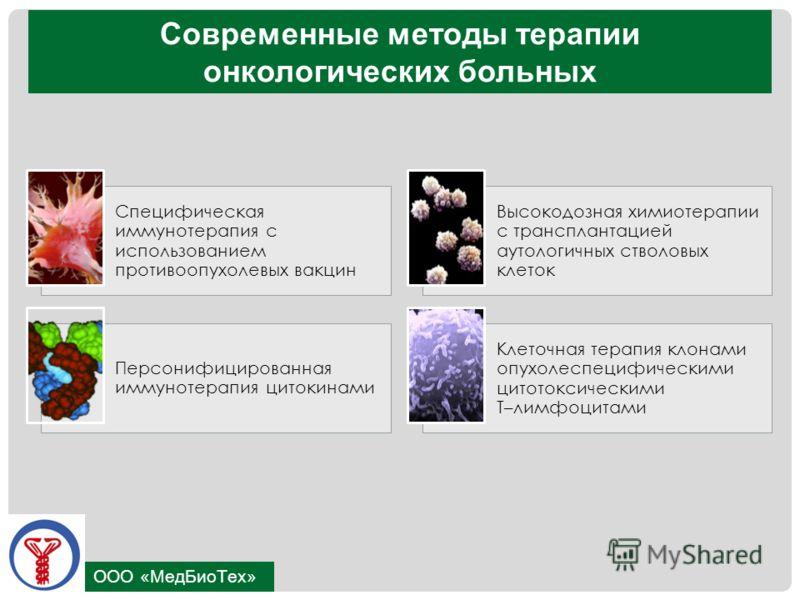 ООО «МедБиоТех» Современные методы терапии онкологических больных Специфическая иммунотерапия с использованием противоопухолевых вакцин Высокодозная химиотерапии с трансплантацией аутологичных стволовых клеток Персонифицированная иммунотерапия цитоки