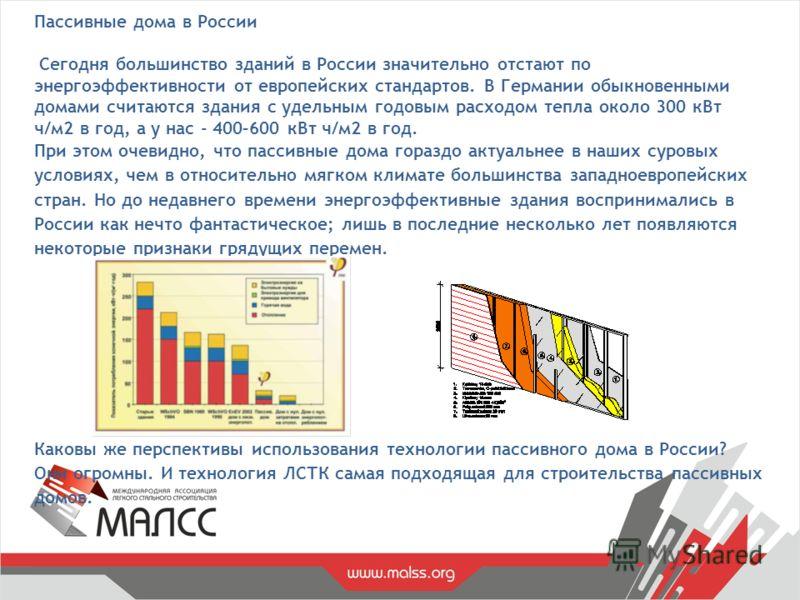 Пассивные дома в России Сегодня большинство зданий в России значительно отстают по энергоэффективности от европейских стандартов. В Германии обыкновенными домами считаются здания с удельным годовым расходом тепла около 300 кВт ч/м2 в год, а у нас - 4