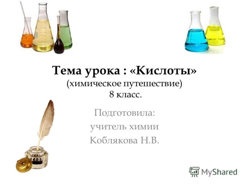 Тема урока : «Кислоты» (химическое путешествие) 8 класс. Подготовила: учитель химии Коблякова Н.В.