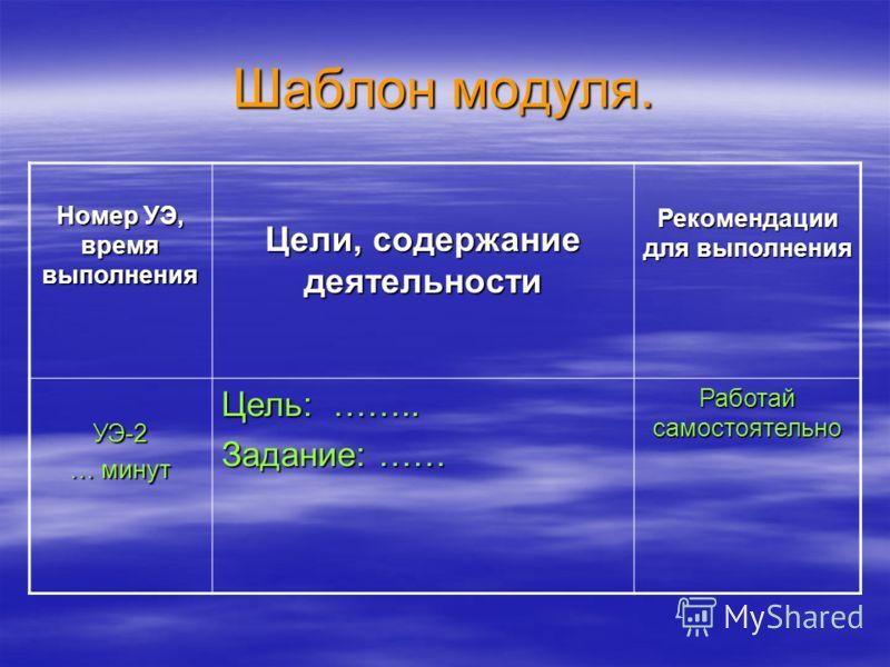 Шаблон модуля. Номер УЭ, время выполнения Цели, содержание деятельности Рекомендации для выполнения УЭ-2 … минут Цель: …….. Задание: …… Работай самостоятельно