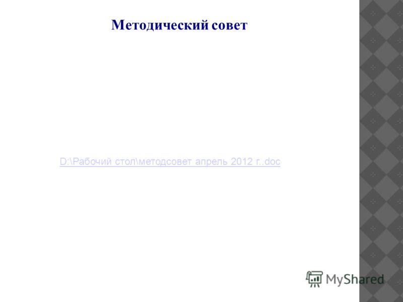 Методический совет D:\Рабочий стол\методсовет апрель 2012 г..doc