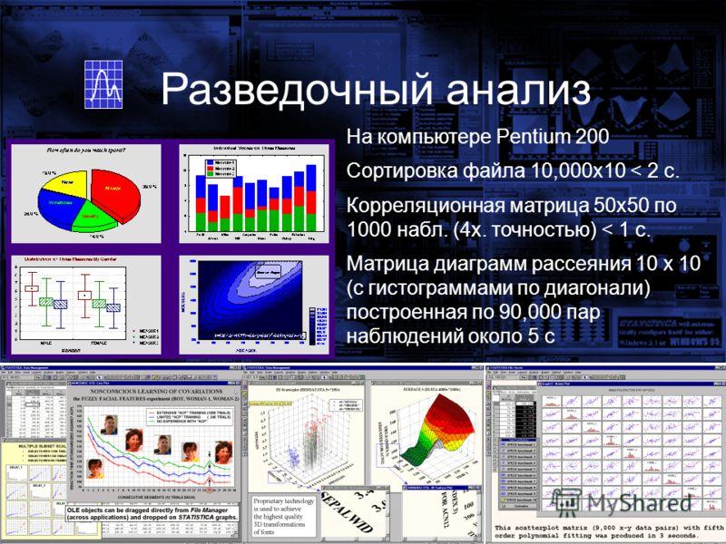 На компьютере Pentium 200 Сортировка файла 10,000x10 < 2 с. Корреляционная матрица 50x50 по 1000 набл. (4x. точностью) < 1 с. Матрица диаграмм рассеяния 10 x 10 (с гистограммами по диагонали) построенная по 90,000 пар наблюдений около 5 с Разведочный