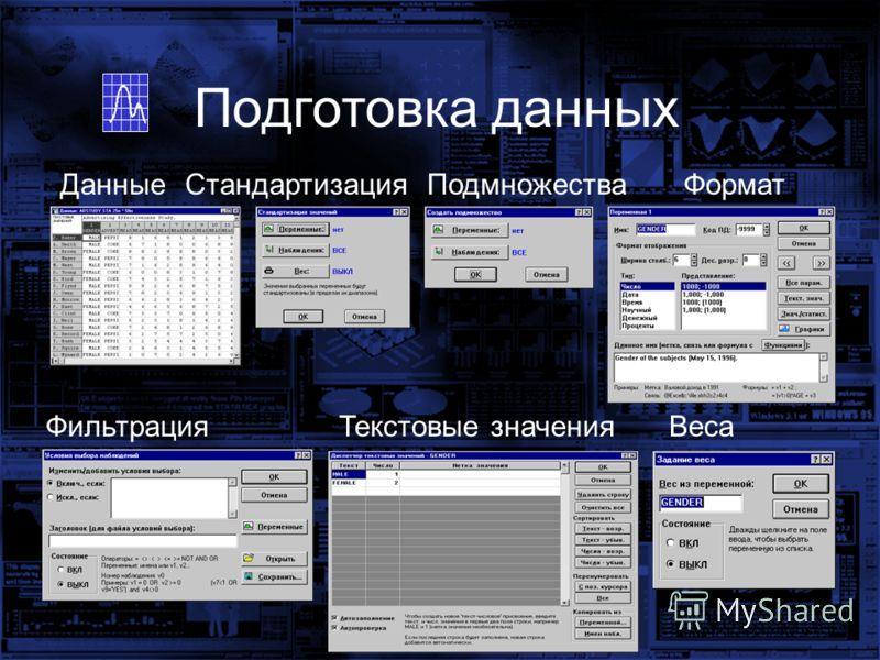 ДанныеСтандартизацияПодмножестваФормат ФильтрацияТекстовые значенияВеса Подготовка данных