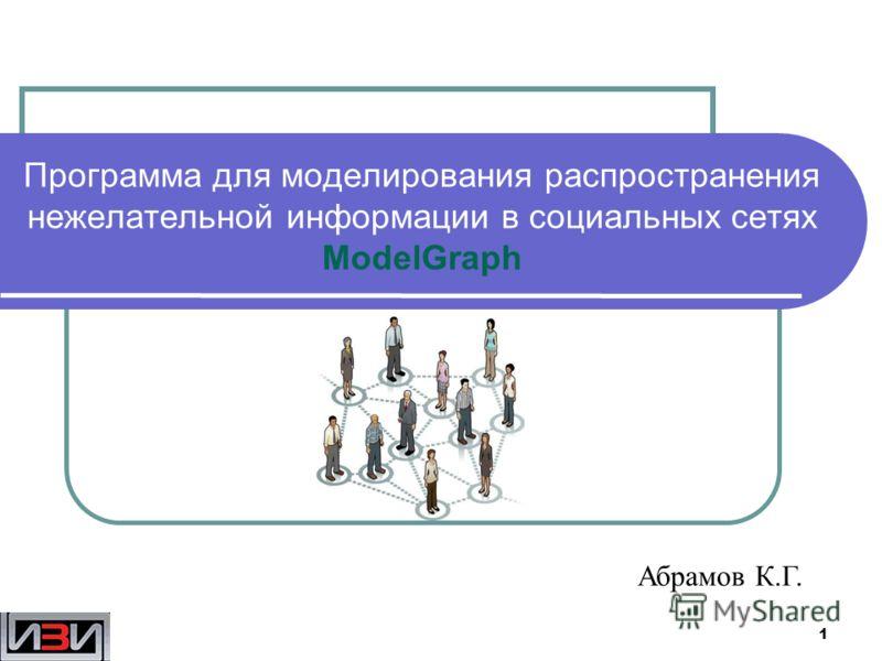 1 Программа для моделирования распространения нежелательной информации в социальных сетях ModelGraph Абрамов К.Г.