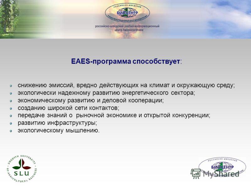 EAES-программа способствует: снижению эмиссий, вредно действующих на климат и окружающую среду; экологически надежному развитию энергетического сектора; экономическому развитию и деловой кооперации; созданию широкой сети контактов; передаче знаний о