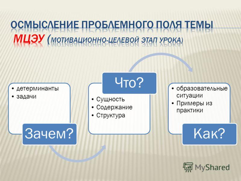 детерминанты задачи Зачем? Сущность Содержание Структура Что? образовательные ситуации Примеры из практики Как?