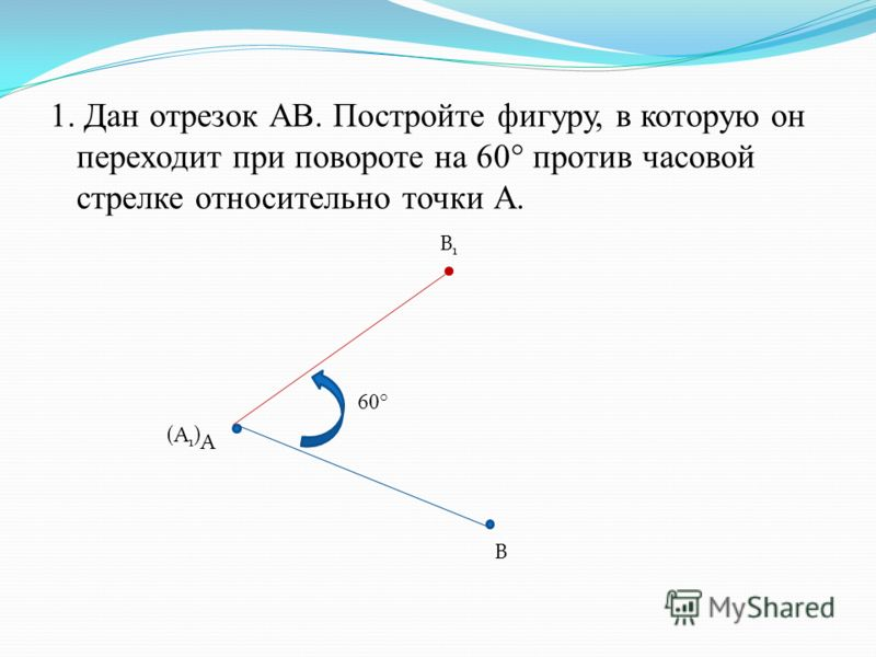 1. Дан отрезок АВ. Постройте фигуру, в которую он переходит при повороте на 60° против часовой стрелке относительно точки А. А В B1B1 (A1)(A1) 60°