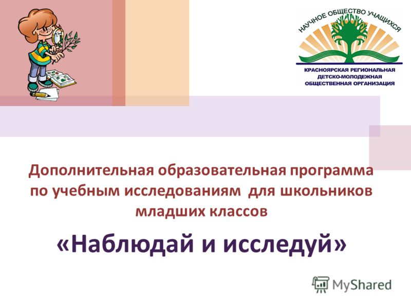 Дополнительная образовательная программа по учебным исследованиям для школьников младших классов « Наблюдай и исследуй »