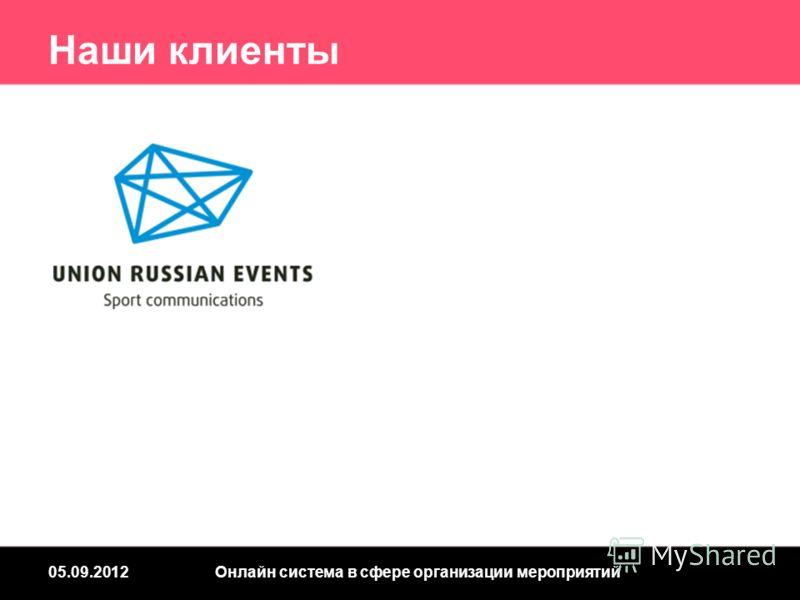 Наши клиенты 05.09.2012Онлайн система в сфере организации мероприятий