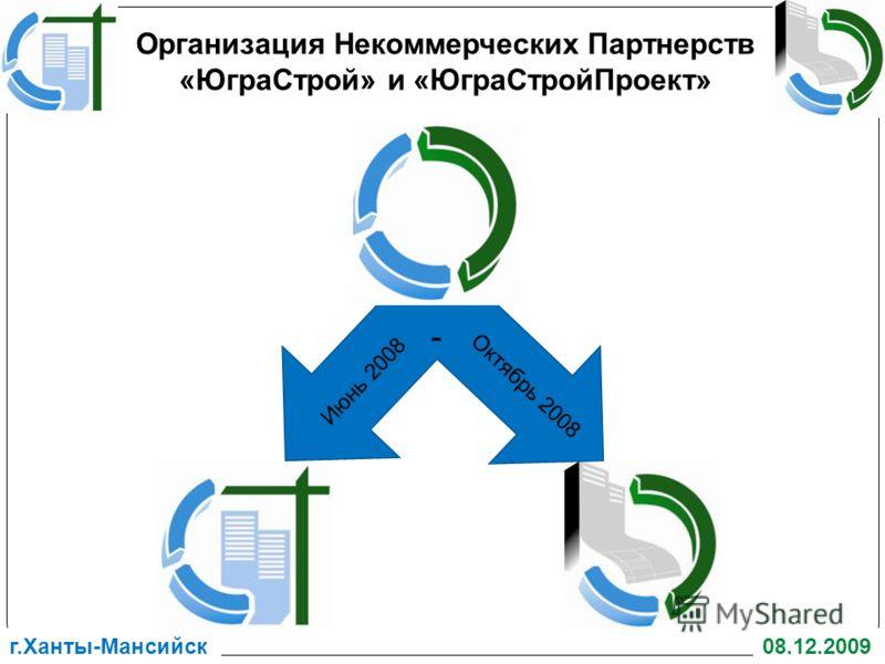 г.Ханты-Мансийск08.12.2009 Июнь 2008 Октябрь 2008 - Организация Некоммерческих Партнерств «ЮграСтрой» и «ЮграСтройПроект»