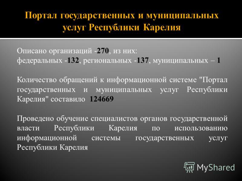 Описано организаций -270, из них: федеральных -132, региональных -137, муниципальных – 1 Количество обращений к информационной системе