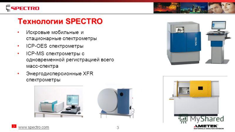www.spectro.com 3 Технологии SPECTRO Искровые мобильные и стационарные спектрометры ICP-OES спектрометры ICP-MS спектрометры с одновременной регистрацией всего масс-спектра Энергодисперсионные XFR спектрометры