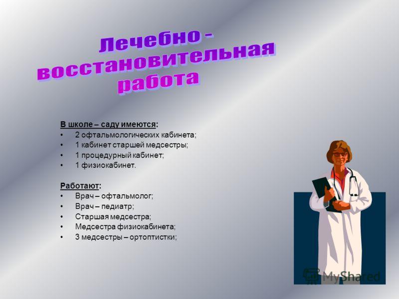 В школе – саду имеются: 2 офтальмологических кабинета; 1 кабинет старшей медсестры; 1 процедурный кабинет; 1 физиокабинет. Работают: Врач – офтальмолог; Врач – педиатр; Старшая медсестра; Медсестра физиокабинета; 3 медсестры – ортоптистки;