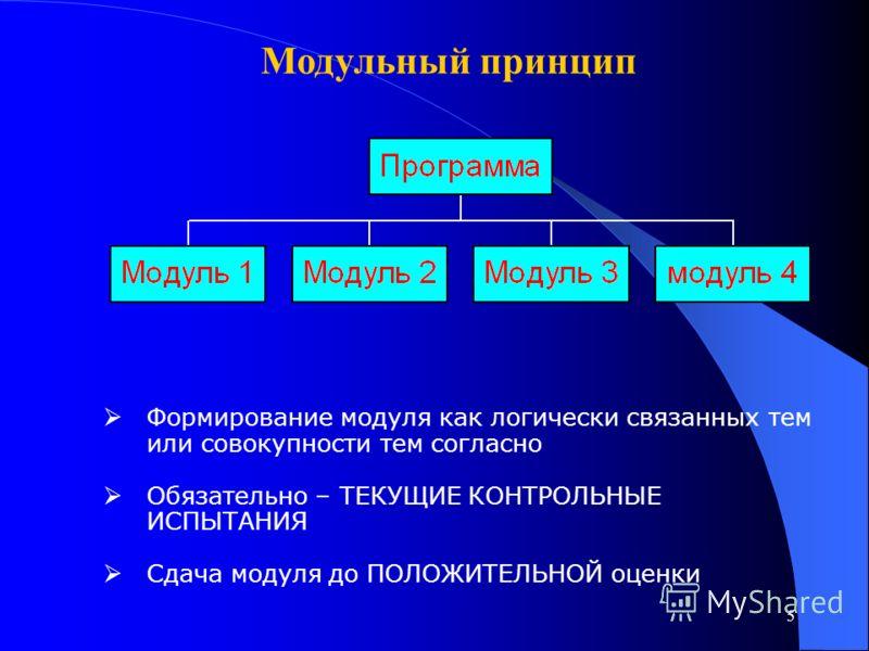 5 Модульный принцип Формирование модуля как логически связанных тем или совокупности тем согласно Обязательно – ТЕКУЩИЕ КОНТРОЛЬНЫЕ ИСПЫТАНИЯ Сдача модуля до ПОЛОЖИТЕЛЬНОЙ оценки
