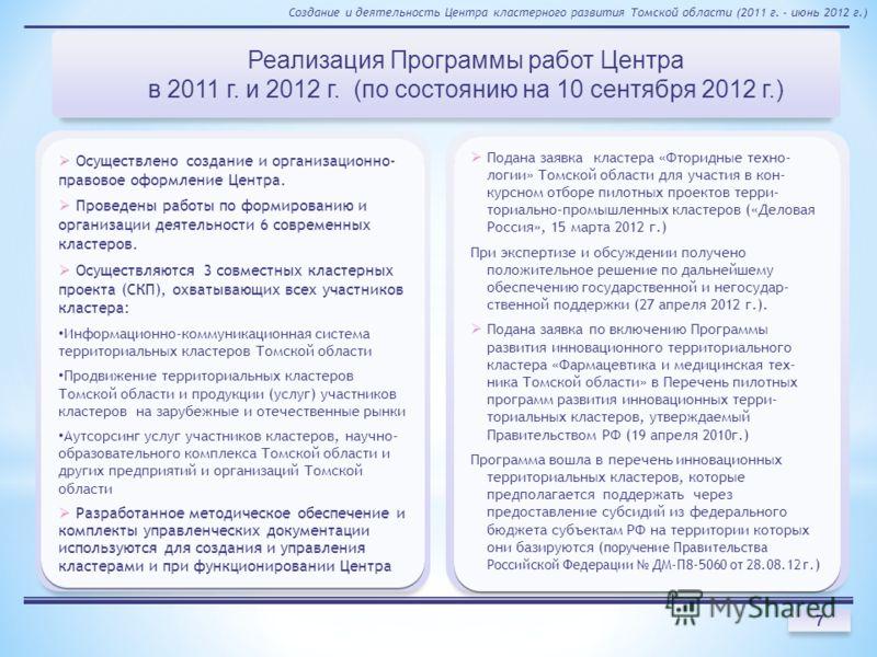 Реализация Программы работ Центра в 2011 г. и 2012 г. (по состоянию на 10 сентября 2012 г.) Создание и деятельность Центра кластерного развития Томской области (2011 г. - июнь 2012 г.) 7 Осуществлено создание и организационно- правовое оформление Цен