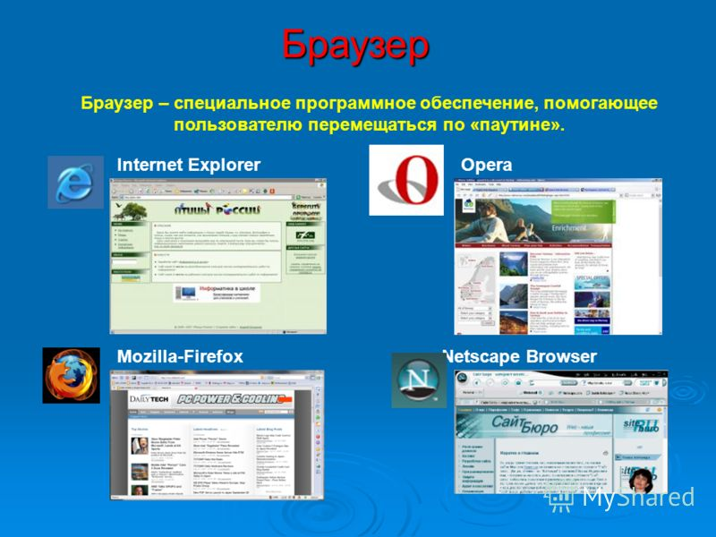 Браузер Internet ExplorerOpera Mozilla-Firefox Netscape Browser Браузер – специальное программное обеспечение, помогающее пользователю перемещаться по «паутине».