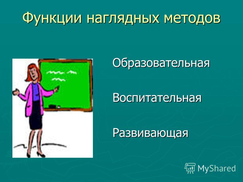 Функции наглядных методов Образовательная Воспитательная Развивающая