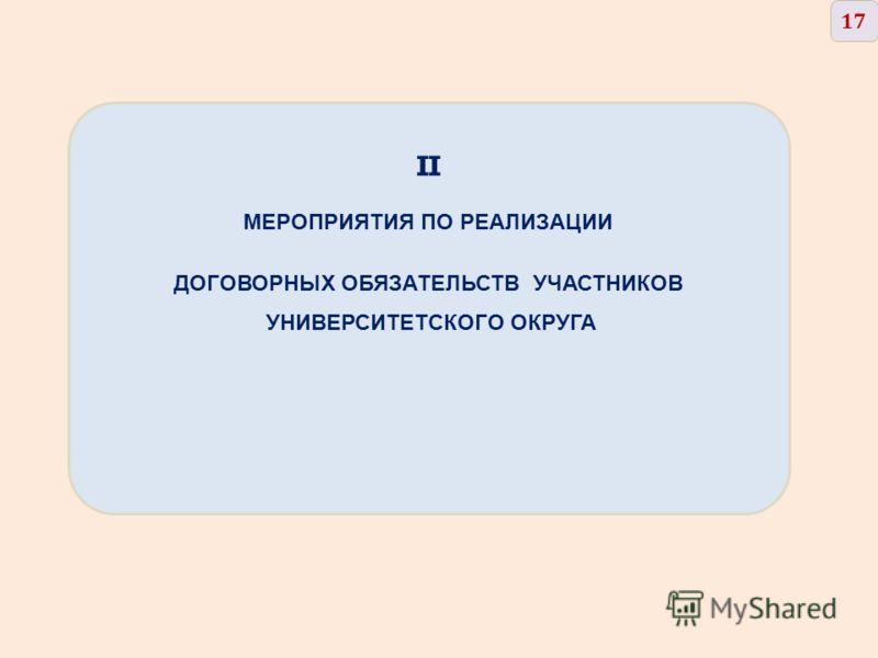 II МЕРОПРИЯТИЯ ПО РЕАЛИЗАЦИИ ДОГОВОРНЫХ ОБЯЗАТЕЛЬСТВ УЧАСТНИКОВ УНИВЕРСИТЕТСКОГО ОКРУГА 17